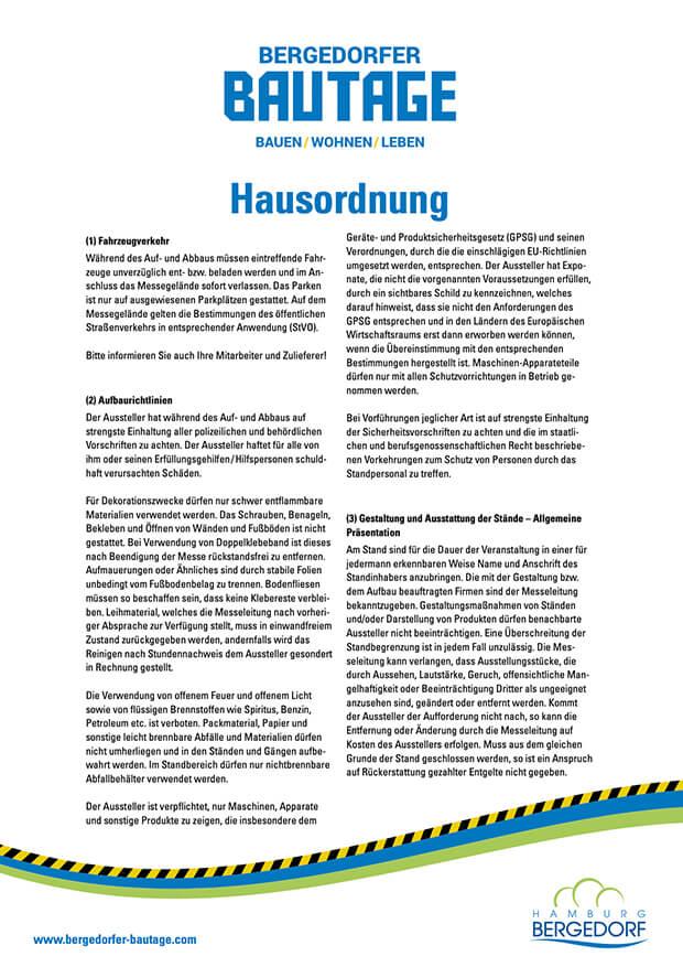 Bergedorfer Bautage Preview Hausordnung