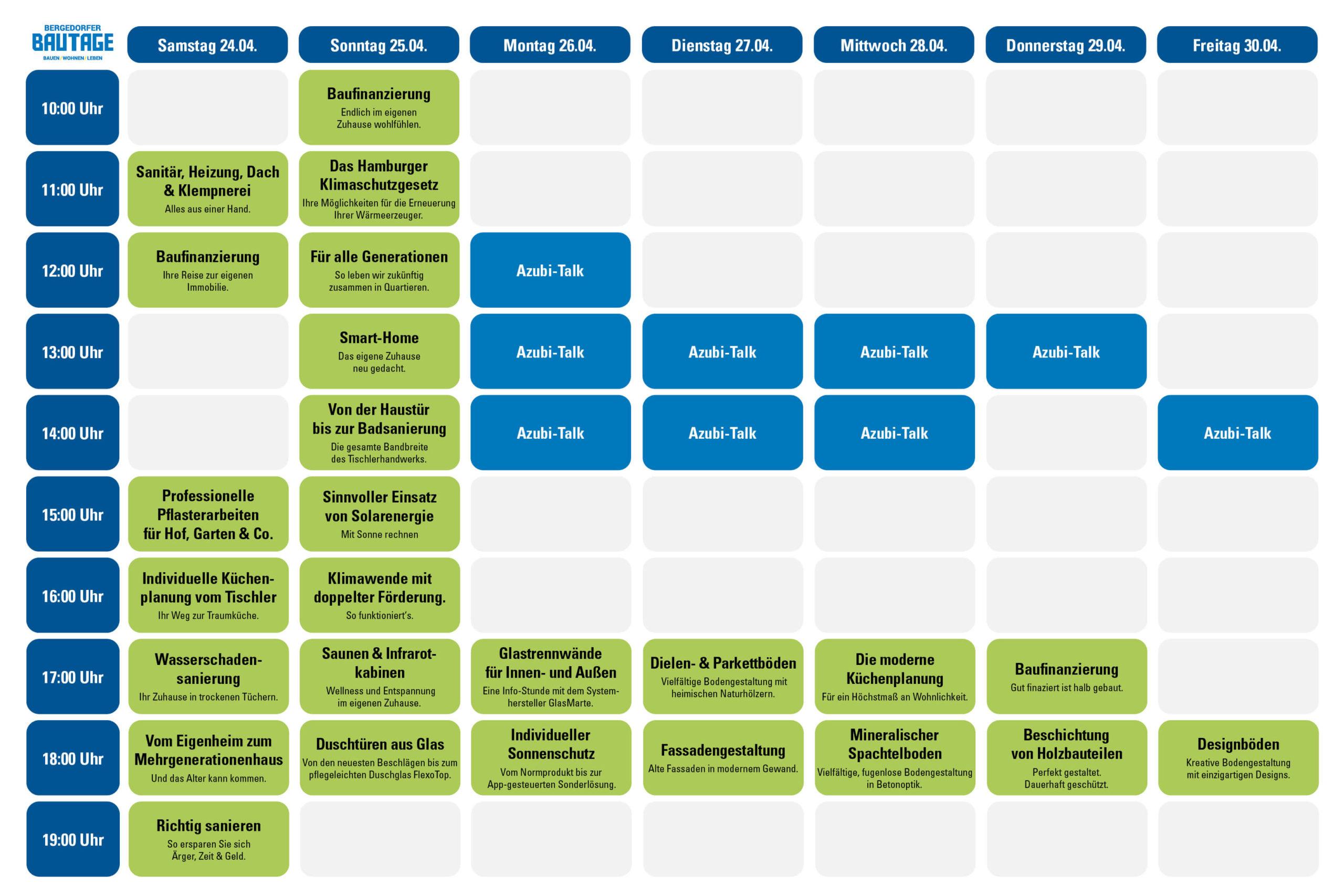 Bergedorfer Bautage Experten-Talks Timetable